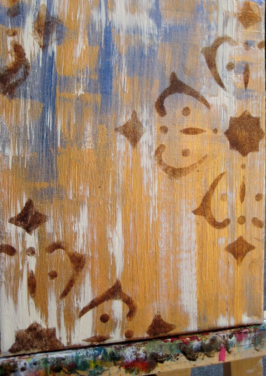 Handmade Abstract Painting Original 10 X16 Two Panels Gold Purple