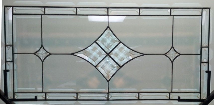 Custom stained glass window panel bevels and clear for Custom transom windows