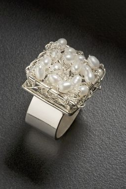 Custom Made Silver And Pearl Ring