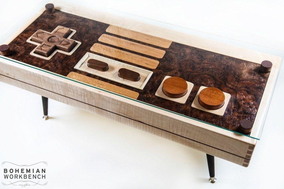 Custom Made Nintendo Controller Coffee Table Maple Walnut Functional