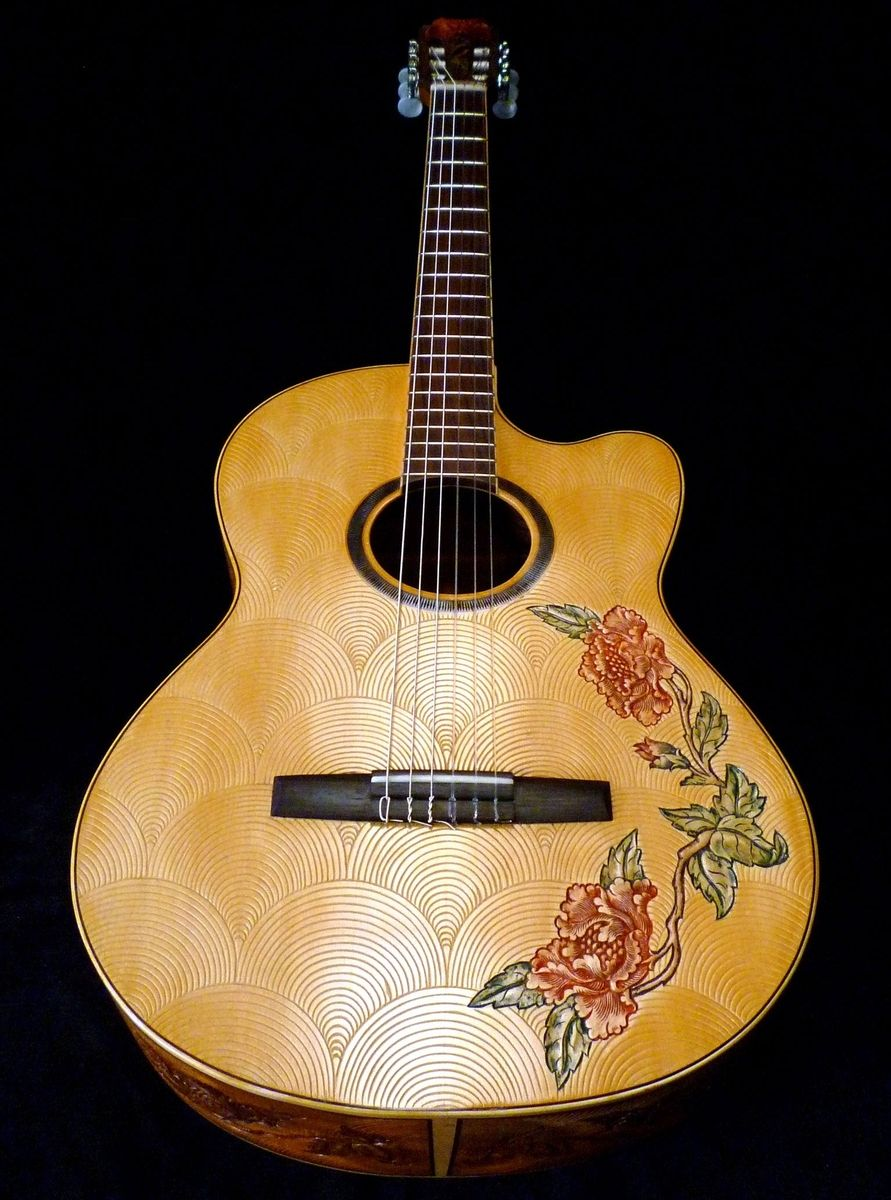custom blueberry floral motif classical guitar by. Black Bedroom Furniture Sets. Home Design Ideas