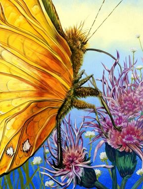 Custom Made Yellow Butterfly Pollinating Wildflowers Painting