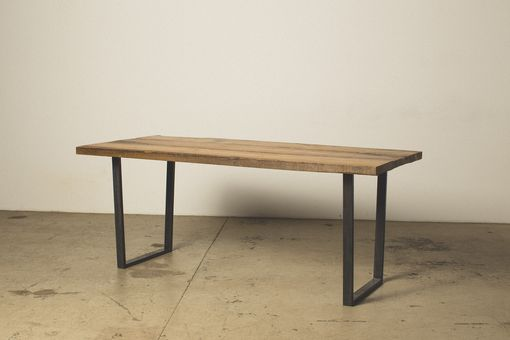 Custom Made Live Edge Dimensional Dining Table With Square Steel Legs.