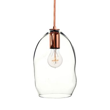 Custom Made Bubble Clear Hand Blown Glass Pendant Light- Copper