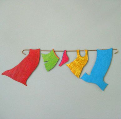 Custom Made Clothesline Wall Art - Sale - Laundry Room Decor Recycled Metal Wall Sculpture 7 X 20