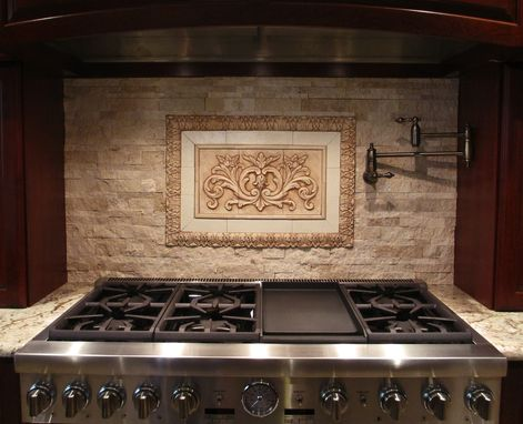 Custom Made Backsplash Insert: Floral Tile With Flat Strips And Small Acanthus Liners