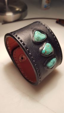 Custom Made Leather And Turquoise Cuff Bracelet