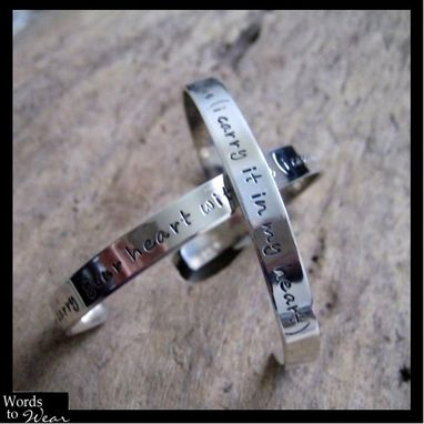 Custom Made Sterling Hand Stamped Quote Narrow Cuff Bracelet