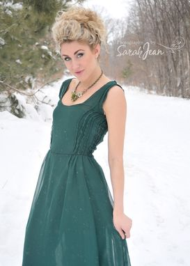 Custom Made Emerald Green Chiffon Dress