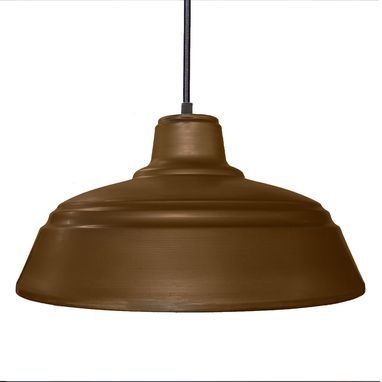 "Custom Made Farmhouse 14"" Metal Shade Pendant Light- Bronze"