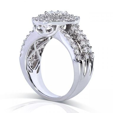 Custom Made 2.00ct Round Cluster Diamond Engagement Ring In 14k White Gold