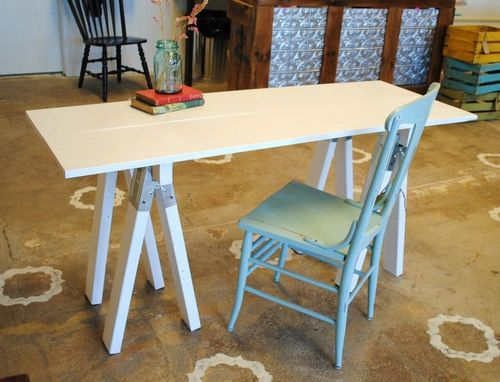 Custom Made White Saw Horse Desk