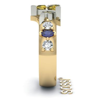 Custom Made Best Legend Of Zelda 10k White And Yellow Diamond And Sapphire Ring 1.15 Ct