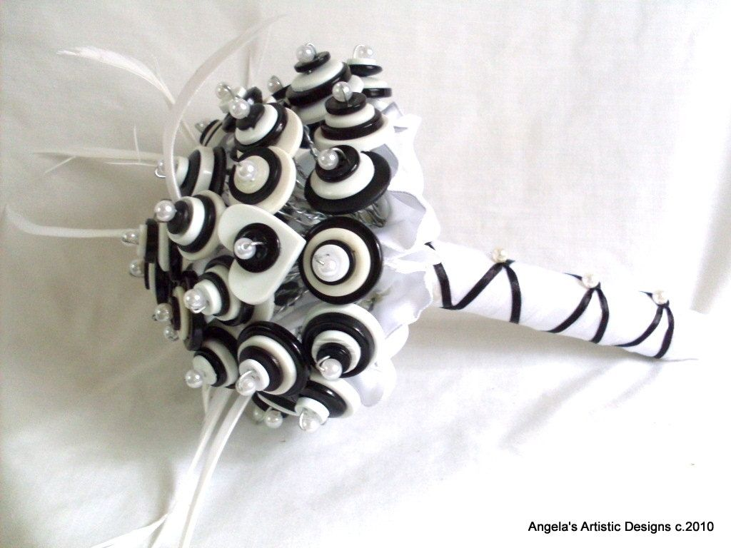 Hand Crafted Tuxedo Black And White Buttons Bridal Bouquet by ...