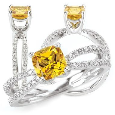 Custom Made 18k Created 5.5mm Princess Cut Yellow Sapphire Ring With Split Shank