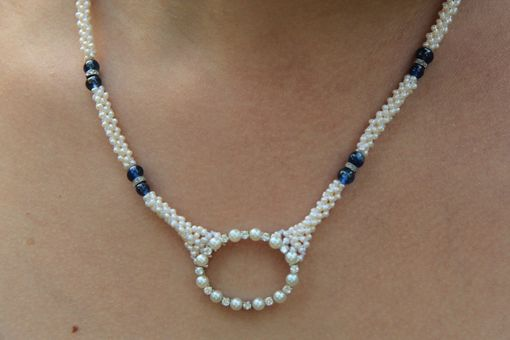 Custom Made Hand Woven Sapphire & Seed Pearl Diamond Necklace. Perfect For Bridal Jewelry.