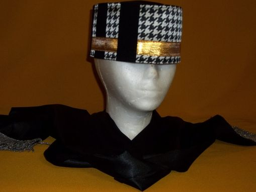 Custom Made Silk And Satin, Black/White Hounds Tooth Crown W/ Gold Band And Black Velvet Strips