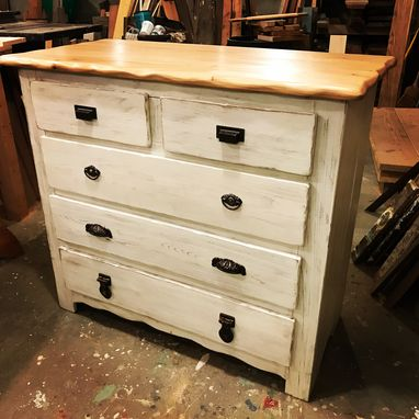 Custom Made Captain's Dresser In Antique Whitewash