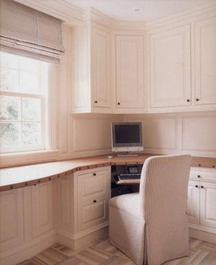 Custom Made Home Office With Leather Desktop In Greenwich, Ct