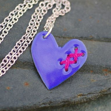 Custom Made Valentine Jewelry Broken Enamel Heart Pendant Necklace Copper Enameled Sewn Little Blue And Pink