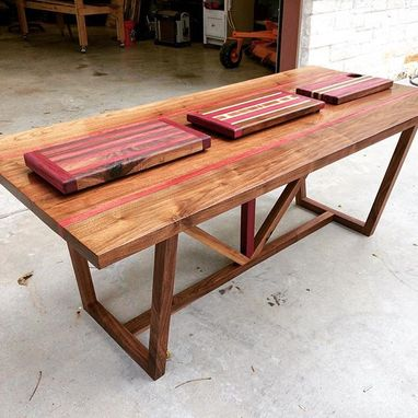 Custom Made Solid Black Walnut & Purple Heart Wood Dining Room Table