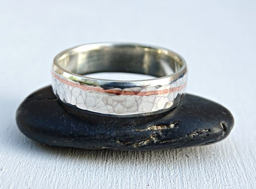 Hammered Silver Wedding Band With Copper Inlay Unique Ring For Men Hand Crafted