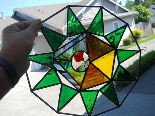 Custom Made Eye Of The Tiger Stained Glass Hanging