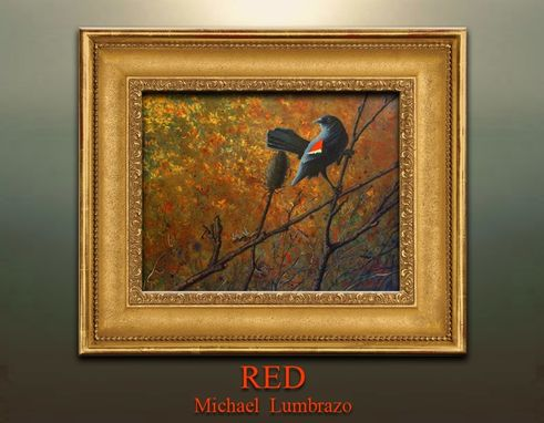 Custom Made Red Winged Blackbird Painting By Michael Lumbrazo