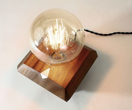 Custom Made Handmade Vintage Edison Geometric Lamp With Metal Inlay Touch Switch