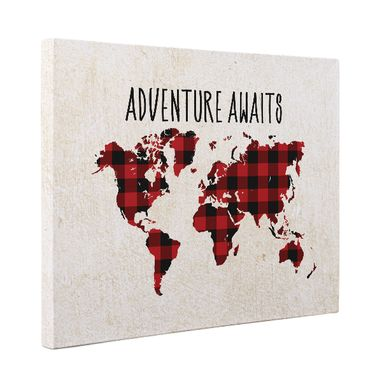 Custom Made Plaid Adventure Awaits Canvas Wall Art