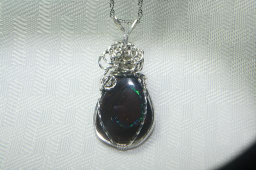 Custom Made Fire Within 27.45 Ct Australian Boulder Opal Sterling Silver Necklace