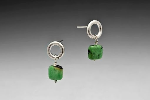 Custom Made Square Green Turquoise Post Earrings