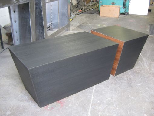Custom Made Steel And Walnut Cube Coffee Table