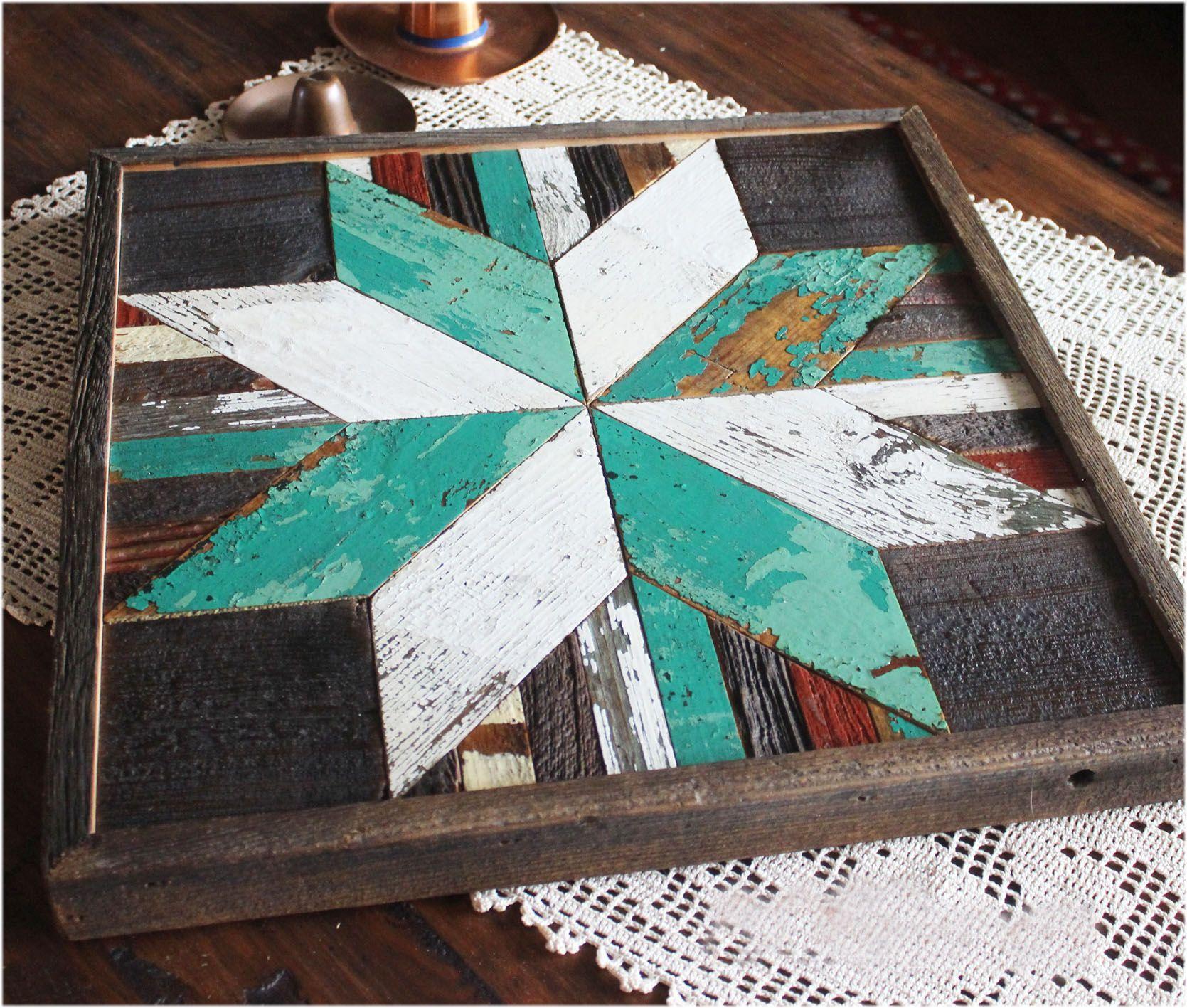 Custom Made Green Star Quilt Wood Rustic Wall Art