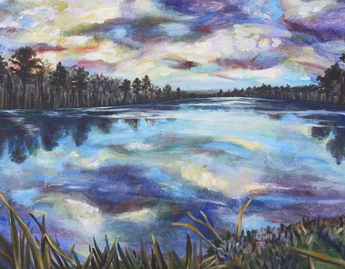 Custom Made Durham Lake Landscape Painting