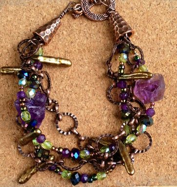 Custom Made Amethyst And Olive 4 Strand Bracelet