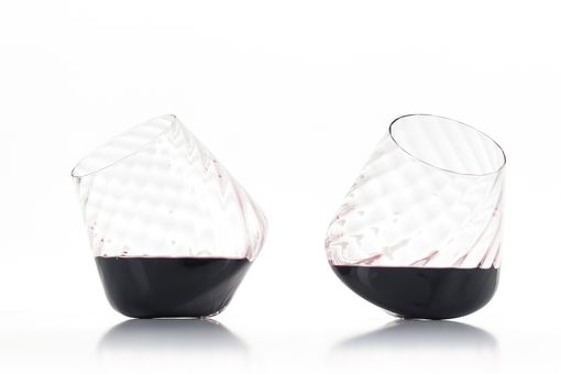 Custom Made Optic Twist Revolving Wine Glass Pair