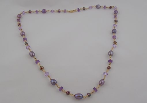 Custom Made Amethyst, Crystal, And Freshwater Pearl Hand Wrapped Necklace