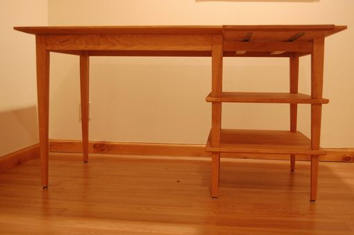 Custom Made Asian Style Cherry Desk With Manuscript Shelf