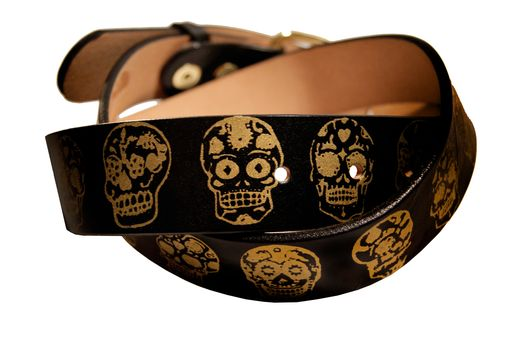 Custom Made Sugar Skulls/Day Of The Dead Leather Belt