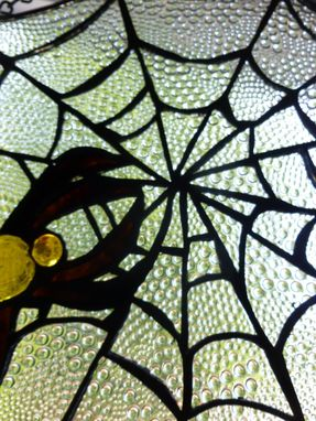 Custom Made Spider On A Web Stained Glass Panel