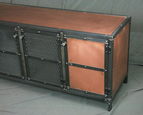 Custom Made Industrial Copper Sideboard, Buffet, Media Console - Vintage Entertainment Center. Tv Stand