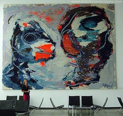 "Custom Made Abstract Hand Tufted Wall Hanging ""Two Personages"" - Karel Appel"