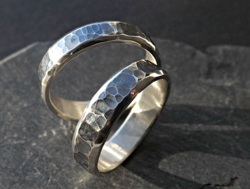 rustic wedding ring set silver matching promise rings partially oxidized silver - Rustic Wedding Rings