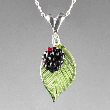 Custom Made Realistic Glass Blackberry Pendant On Sterling Slider