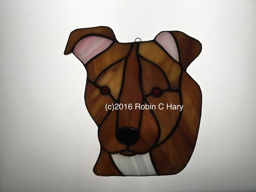 Custom Made Pit Bull Stained Glass Sun Catcher