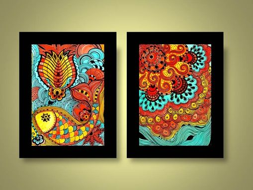 Custom Made Fine Art Print Sun-Orange Yellow Blue Ink And Acrylic Reproduction