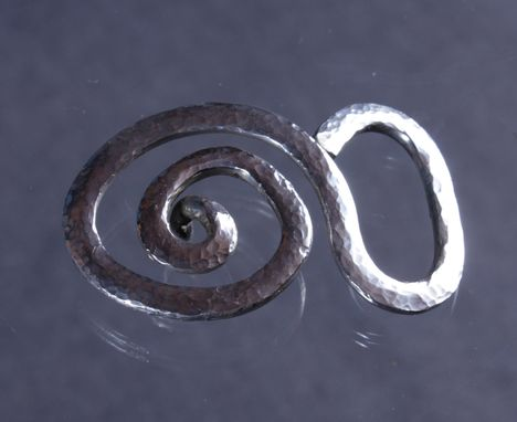 Custom Made Spiral Fish Belt Buckle In Sterling Silver