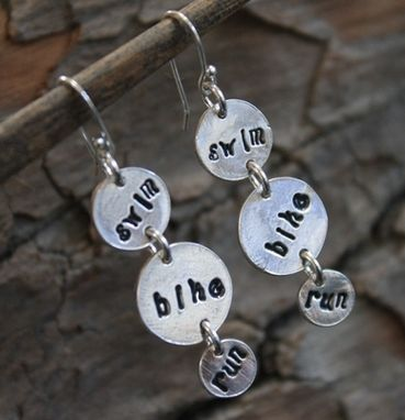 Custom Made Fine Silver Whimsy Swim Bike Run Earrings