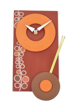 Custom Made Contemporary Wall Clock - Oodles Circle Design In Barn Red, Pumpkin Orange With Pendulum